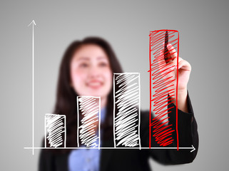 Business woman drawing up trend bar chart