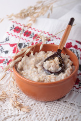 Oat porridge in ceramic bow