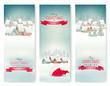Obrazy na płótnie, fototapety, zdjęcia, fotoobrazy drukowane : Holiday Christmas banners with villages. Vector.