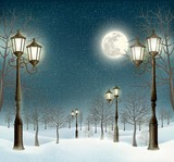 Fototapety Christmas evening winter landscape with lampposts. Vector.