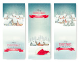 Fototapety Holiday Christmas banners with villages. Vector.