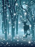 Naklejka Stag in Winter Forest