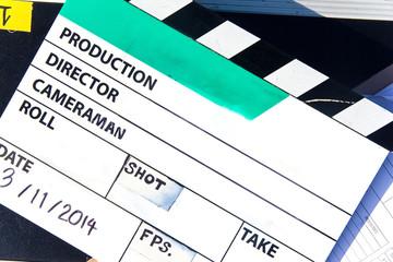 close up image of Film Slate on set background