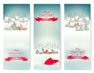 Holiday Christmas banners with villages. Vector.