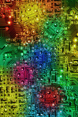 Multi Colours Abstract Electronic Circuit Background