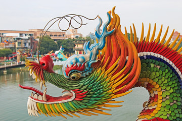 Detail of the Dragon at Dragon And Tiger Pagodas of Lotus Pond,