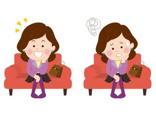 ソファーでひらめく女性/悩む女性