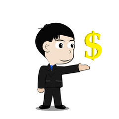 vector Businessman with Currency symbol dollar
