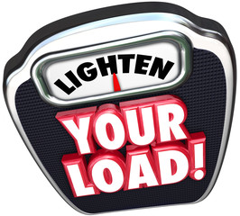 Lighten Your Load 3d Words Scale Reduce Workload