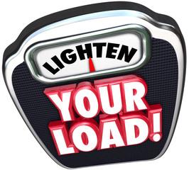 Lighten Your Load 3d Words Scale Reduce Workload