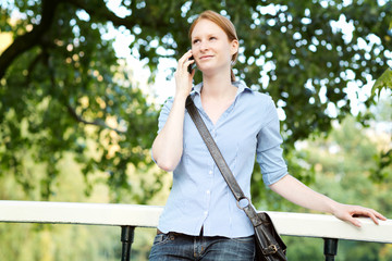 Woman Waiting for a Meeting in a Park