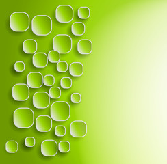 green background with rounded squares and shadows