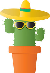cactus with sunglasses and hat.