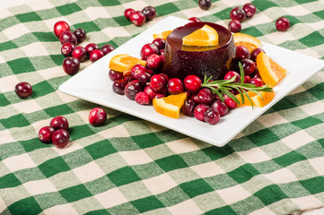 Plate of cranberry sauce room for text