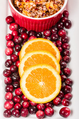 Overhead of cranberry relish with cranberries