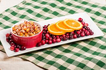 Cranberry apple relish with orange slices