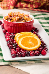 Plate of cranberries and relish
