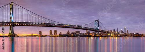 Foto op Canvas Bruggen Ben Franklin bridge and Philadelphia skyline