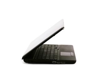 black computer semi-open