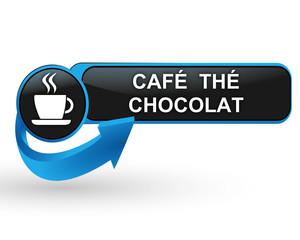 café thé chocolat sur bouton web design bleu