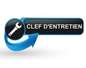clef d'entretien sur bouton web design bleu