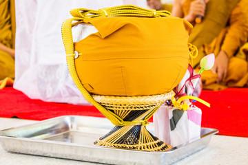 Buddhist monk alms-bowl in thailand, makha bucha day, visakha bu