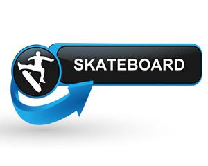 skateboard sport sur bouton web design bleu