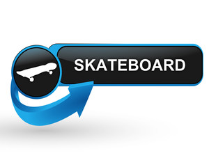 skateboard sur bouton web design bleu