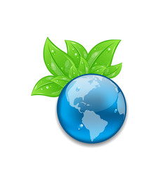 Symbol of planet Earth with green leaves