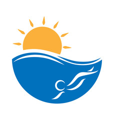 Emblem with sea, swimmer and sun isolated on white background