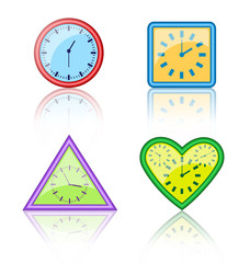 Bright multicolored different forms of clocks with reflection on