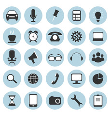 Set of flat icons in circles for web design isolated on white