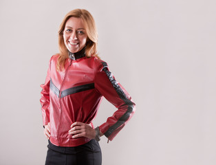 hard rock woman in red leather jacket