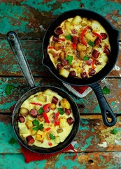 the Spanish tortilla with potatoes and sausages