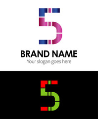 Five number logo, 5 icon