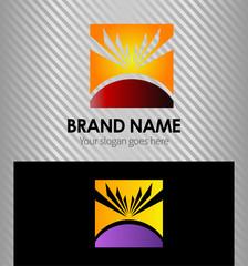 Summer sun of square logo