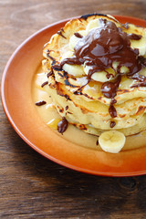 rustic with banana pancakes
