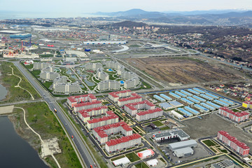 Sochi cityscape, Adler district, top view