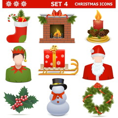 Vector Christmas Icons Set 4