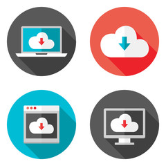 Cloud Services Flat Icons with Shadows Set