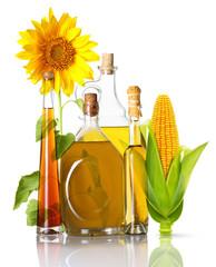 Oil bottles, corn and sunflower