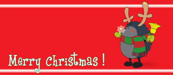Cute looking hedgehog,dressed as Rudolph the Reindeer,isolated