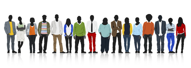 Silhouettes of Casual People with Colorful Clothes Concept