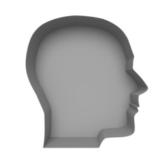 Profile of a human face on a white background. Illustration crea