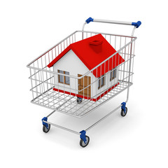 Render house in the shopping cart on white background. Illustrat