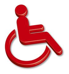 3 D Symbol WC Behinderte