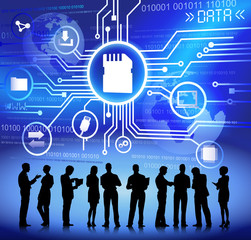 Technology And Data Themed Illustration With Business People Sil