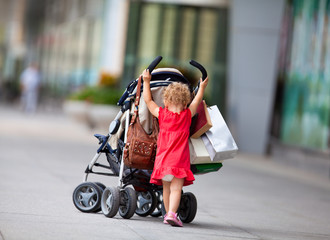 Young girl with carriage
