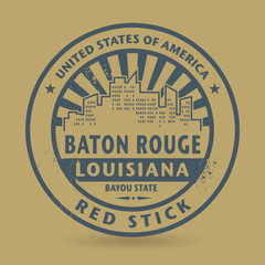 Grunge rubber stamp with name of Baton Rouge, Louisiana