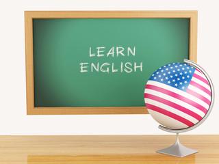 3d illustration. School education concept. Blackboard with learn